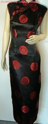 Schwarzer Qipao RED CIRCLE